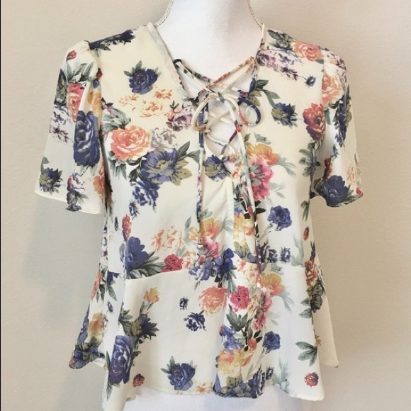 Urban Outfitters floral peplum blouse